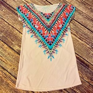12PM by Mon Ami feathered dress pink short sleeved